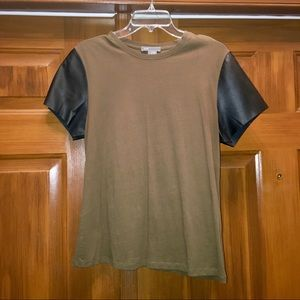 VINCE Women's T-Shirt w/ Leather Sleeves - L - new